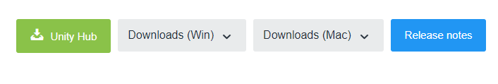 A cropped screenshot of the download buttons within the Unity Download archive, showing Unity doesn't offer Linux downloads in the Archive.